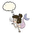 cartoon pretty mermaid with thought bubble vector image vector image