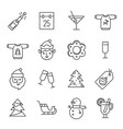 christmas icons - santa claus elf and champagne vector image