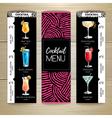 Cocktail menu design on wooden background vector image vector image