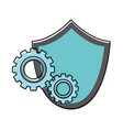 color shield security with gear process industry vector image