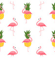 colorful pink flamingo and pineapple seamless vector image vector image