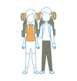couple of camping people icon vector image