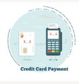 credit card payment concept in line art style vector image vector image