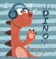 cute dino characters music vector image vector image