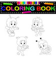 cute kids cartoon wearing animal costume coloring vector image vector image