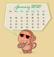 cute monkey cartoon with january 2020 calendar vector image vector image