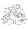 cute tyrannosaurus rex in landscape vector image