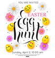 easter egg hunt invitation with colorful spring vector image vector image