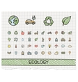 Ecology hand drawing line icons doodle vector image vector image