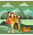 family hiking in mountains concept poster vector image
