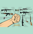fight against gun control with hand vector image vector image