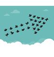 flock birds flying in sky in an arrow vector image vector image