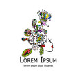 floral female portrait logo for your design vector image vector image