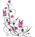 flowers butterflies black pink vector image vector image