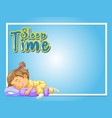 frame design template with girl sleeping in bed vector image vector image