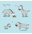 Funny cartoon zebras vector image
