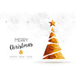 Gold Christmas and new year pine tree low poly art vector image vector image