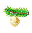 green spruce branch with golden toy isolated vector image vector image