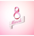 Greeting card for 8 March with banner and symbol vector image vector image