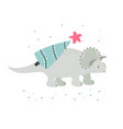 holiday hand drawn dino with christmas tree vector image vector image
