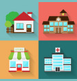 modern flat buildings set colorful template for vector image