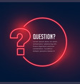 neon style question mark template for help and vector image