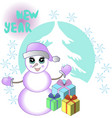 new yeaar card with snowman and gifts vector image vector image