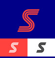 orange s letter linear monogram three strips vector image