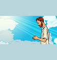 prayer man religion and faith islam christianity vector image