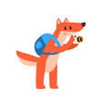 red fox with backpack and camera cute animal vector image vector image
