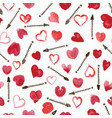 red hand drawn watercolor hearts with black ink vector image