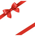 red ribbon and bow isolated vector image vector image