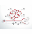red stethoscope in shape of brain scan vector image vector image