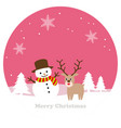 round winter landscape with a snowman vector image