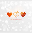 saint valentine s day greeting card with three red vector image vector image