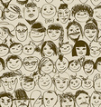 seamless pattern smiling crowd people vector image