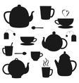 set black teapots silhouettes vector image vector image