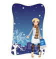 shopping winter girl vector image vector image