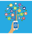 Smart phone with social media icons vector image