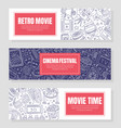 three flyer templates for cinema festival vector image