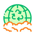 trash recycle planet earth thin line icon vector image