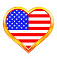 usa flag in heart vector image vector image