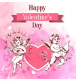 valentine card with two cupids vector image vector image