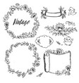 vintage drawings of flowers labels by hand vector image vector image
