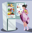 woman near refrigerator thinking what to eat vector image vector image