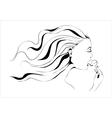 Girl with lollipop outline vector image