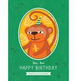 Cute Monkey Animal Cartoon Birthday card design vector image