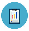 document with data charts icon web button on round vector image