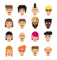 set of 16 flat avatars icons male and female vector image