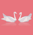 a pair of paper origami swans vector image vector image
